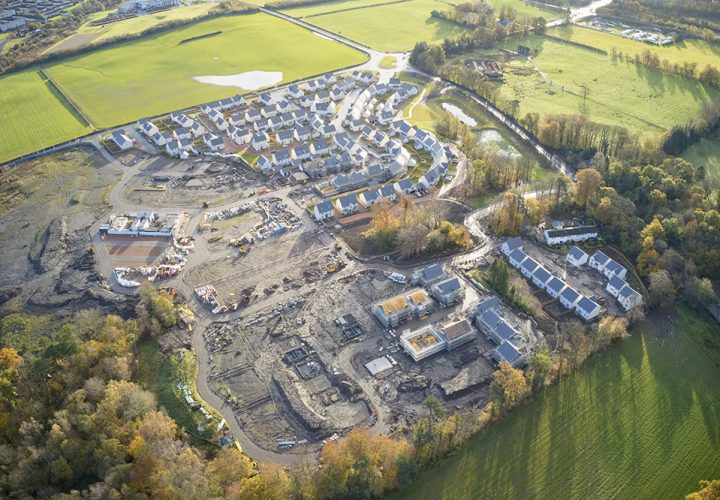aerial view of housing in construction