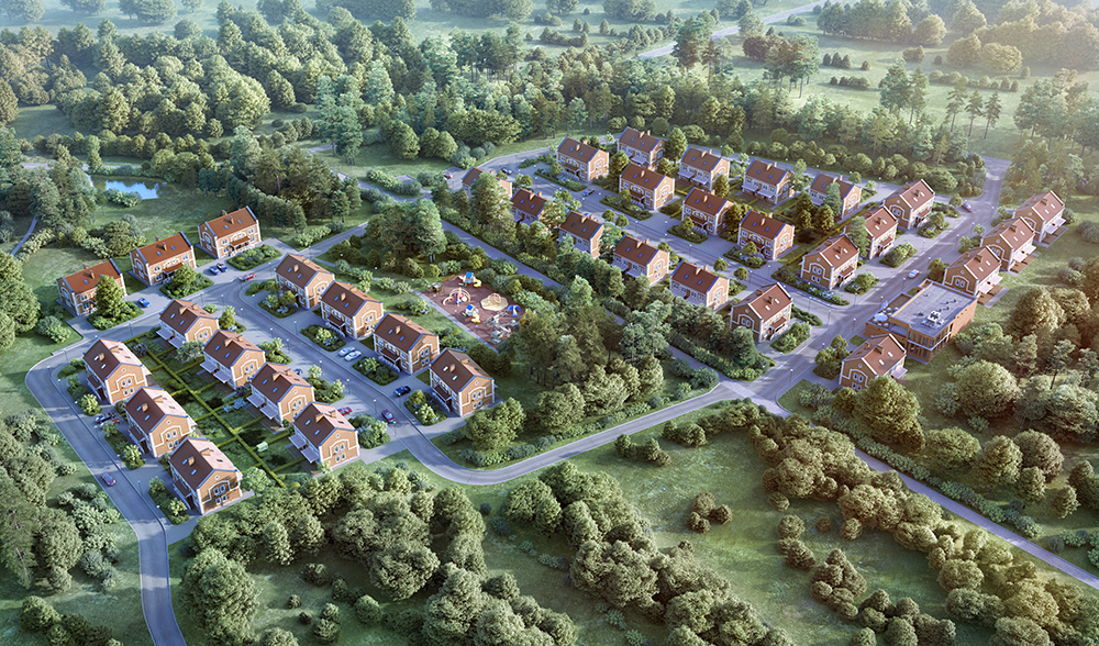 aerial illustration of new build housing
