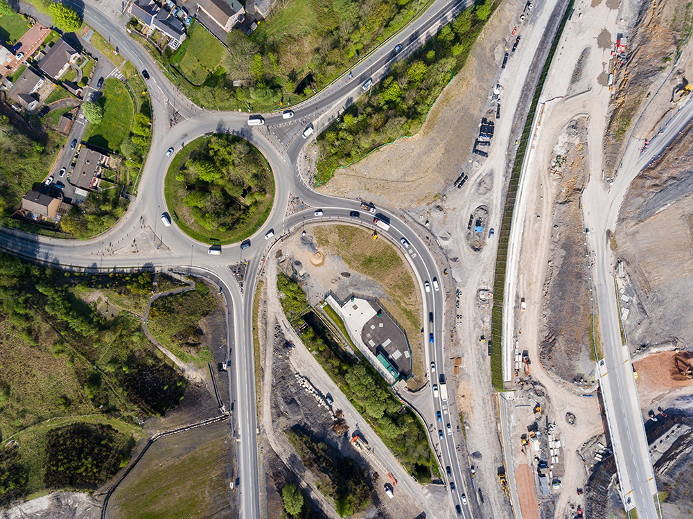 Aerial view of major road works
