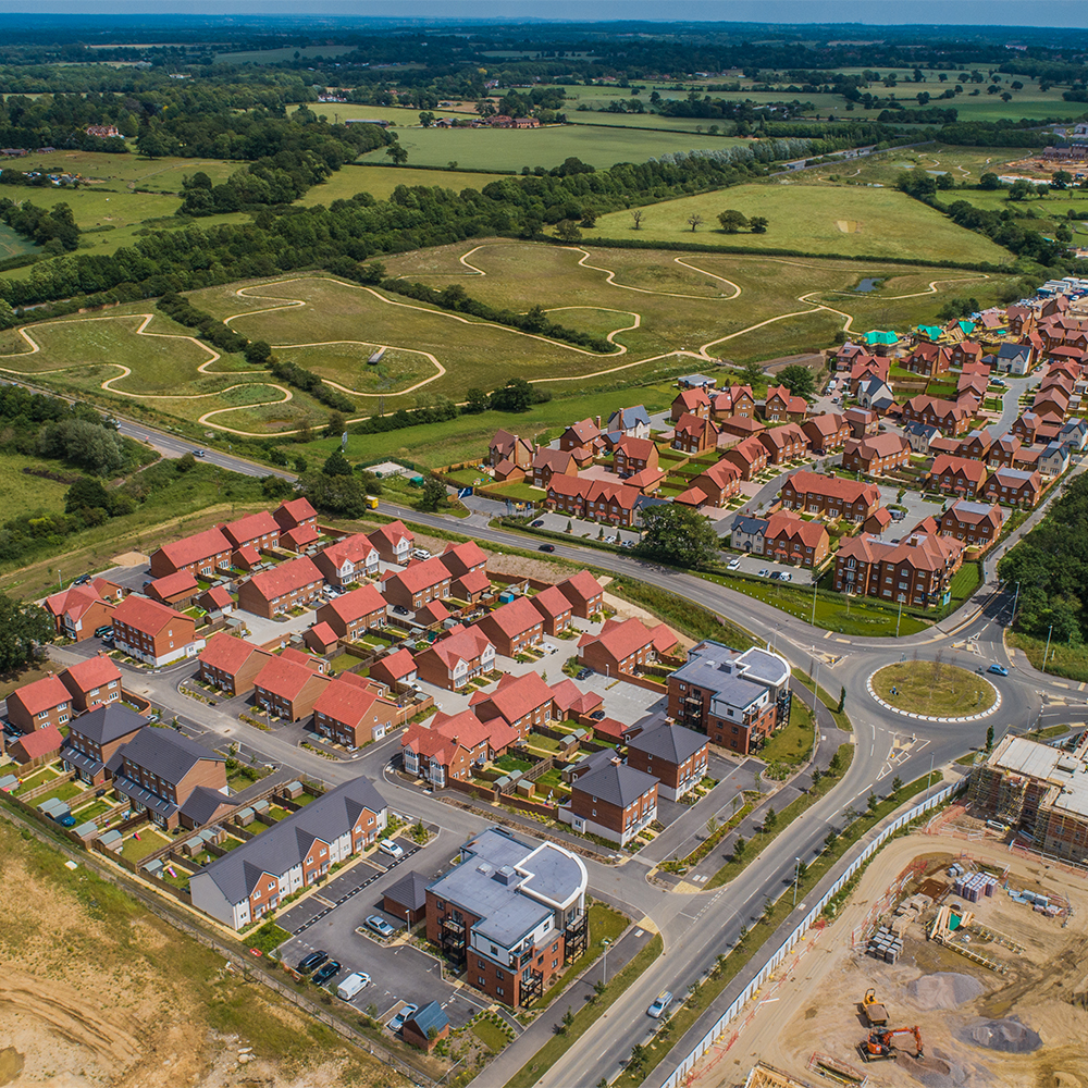aerial view of new build houses